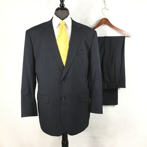 Brooks Brothers navy blue wool suit pleated cuffs